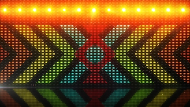 High definition cgi motion backgrounds ideal for editing, led backdrops or broadcasting featuring of glowing arrows over a simulated led panel 3d illustration