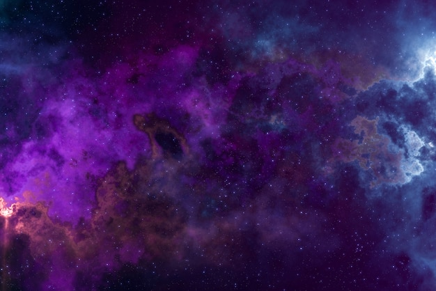 高精細スターフィールド、カラフルな夜空スペース。宇宙の星雲と銀河。天文学の概念の背景。