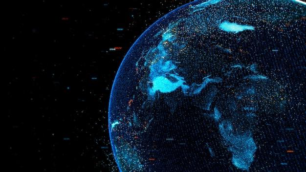 난수와 하이라이트 요소가있는 디지털 지구 글로브의 높은 상세한 개념