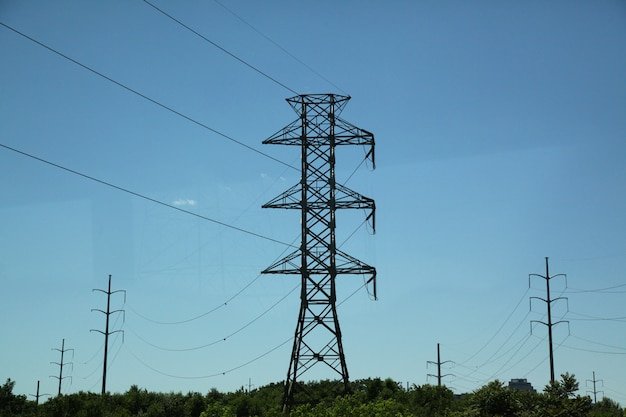 High electricity pole line in nature