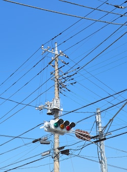 High electricity transmission with traffic lights.