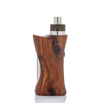 High end rebuildable dripping atomizer with stabilized natural walnut wood regulated box mods  isolated on a white texture background, vaping device