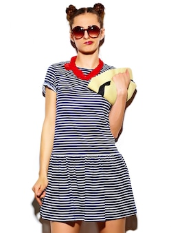 High fashion look. funny glamor stylish sexy smiling beautiful young woman model in summer bright  hipster cloth