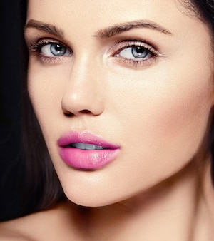 High fashion look.glamor closeup beauty portrait of beautiful   caucasian young woman model with pink lips  with perfect clean skin