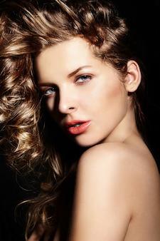 High fashion look.glamor closeup portrait of beautiful sexy stylish brunette caucasian young woman model