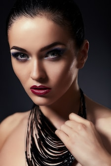 High fashion look.glamor closeup portrait of beautiful sexy stylish brunette caucasian young woman model