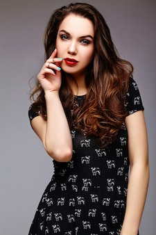 High fashion look.glamor stylish sexy  beautiful young woman model in summer black  hipster dress