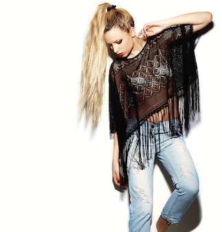 High fashion look.glamor stylish sexy smiling beautiful young blond woman model in summer bright jeans  hipster cloth