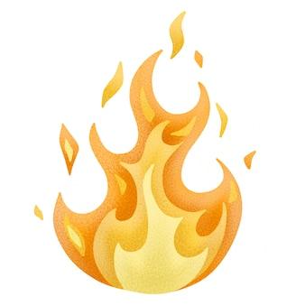 Высокое пламя с иллюстрацией искр. изолированные на белом фоне