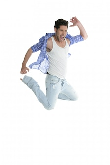 High fly man jumping denim fashion jeans on white