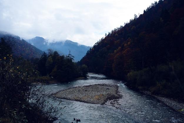 高い森の山々秋の川の美しい風景