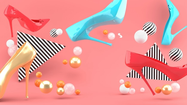 High-heeled shoes amid colorful balls on a pink space