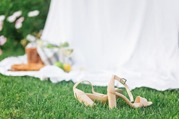 かかとの高い靴は、ピクニック用のセットが付いたぼやけた籐のバスケットの横にありました。緑の草と白いシーツに