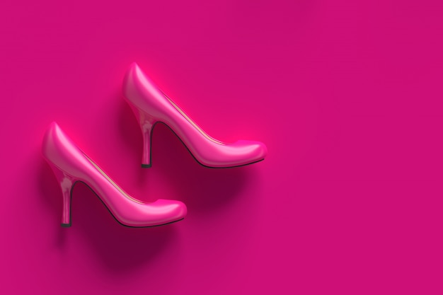 High-heeled shoes plastic pink
