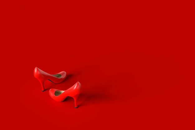High-heeled shoes red color