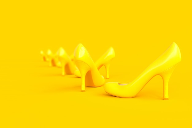 High-heeled shoes yellow color.