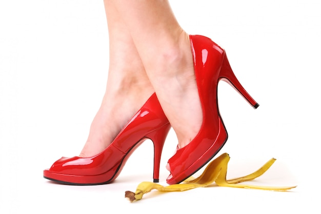 High heels over bananapeel