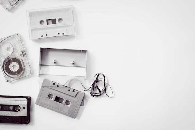High-key lighting of black and white vintage tape cassette recorder. retro technology