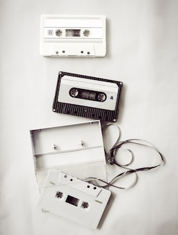High-key lighting of black and white vintage tape cassette recorder