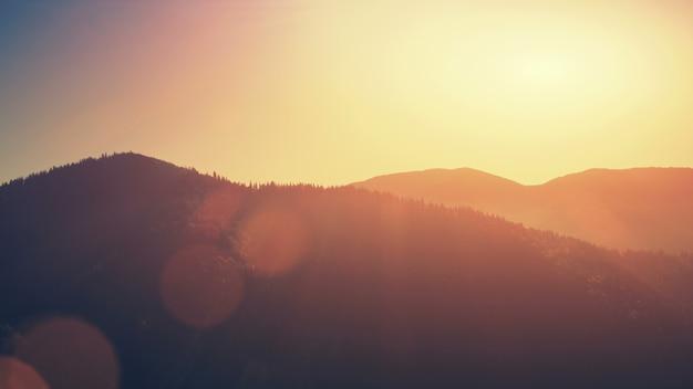 높은 산 슬로프 일몰 언덕 체인 공중보기 침엽수 야생 동물 서식지 산악 숲