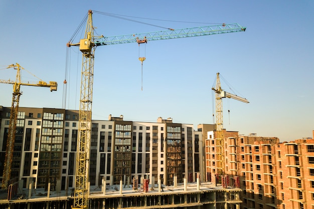 High multi storey residential apartment buildings under construction