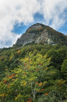 High peak's mountain under clouds after a intense colored forest during autumn season in catalunya, spain