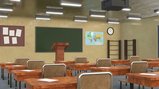 High quality 3d render classroom photo