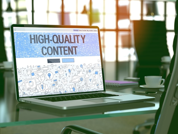 Концепция высококачественного контента - крупный план на целевой странице экрана ноутбука в современном офисе на рабочем месте. тонированное изображение с выборочным фокусом. 3d визуализация.