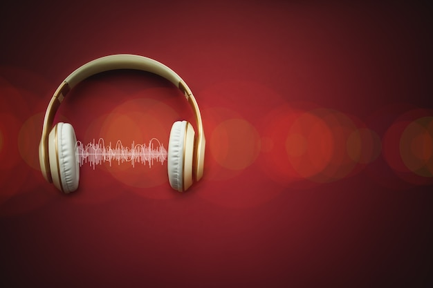 High-quality headphones with musik track on a red background.