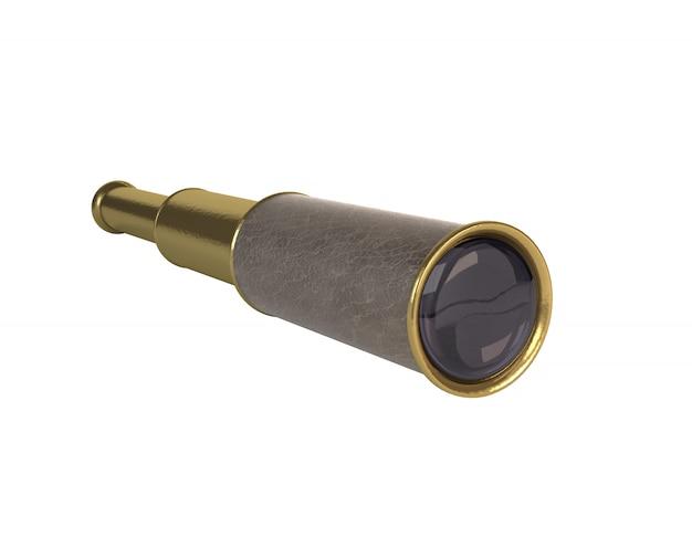 High-quality rendering 3d retro spyglass on a white background. isolated object.