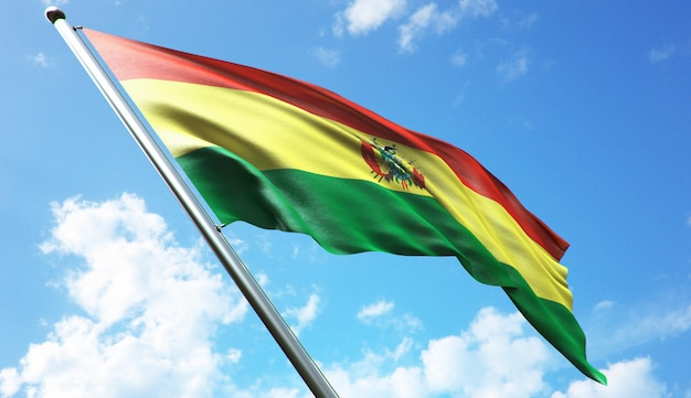 High resolution 3d rendering illustration of the bolivia flag with a blue sky background