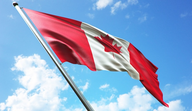 High resolution 3d rendering illustration of the canada flag with a blue sky background