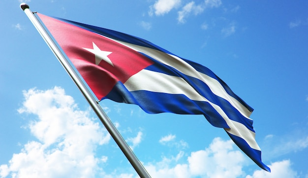 High resolution 3d rendering illustration of the cuba flag with a blue sky background