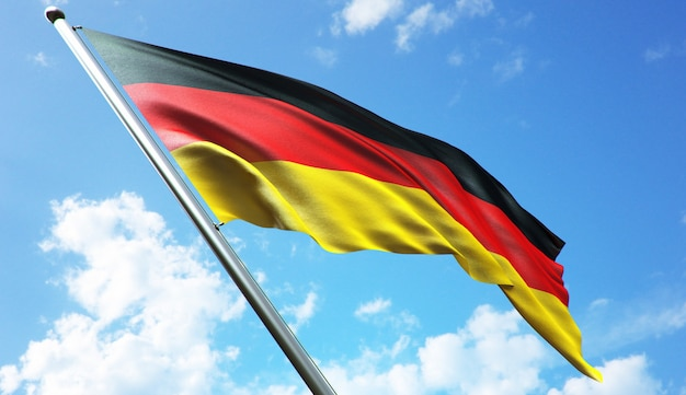 High resolution 3d rendering illustration of the germany flag with a blue sky background