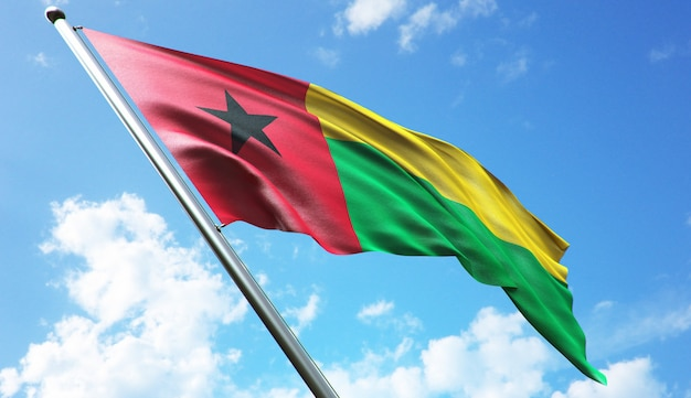 High resolution 3d rendering illustration of the guinea bissau flag with a blue sky background
