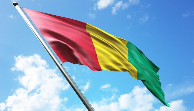 High resolution 3d rendering illustration of the guinea flag with a blue sky background
