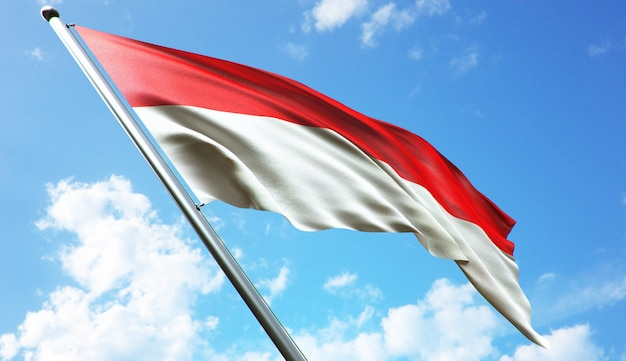 High resolution 3d rendering illustration of the indonesia flag with a blue sky background