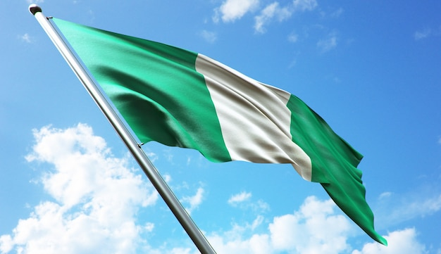 High resolution 3d rendering illustration of the nigeria flag with a blue sky background