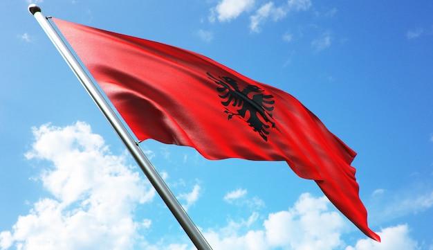 푸른 하늘 배경으로 알바니아 국기의 고해상도 3d 렌더링 그림