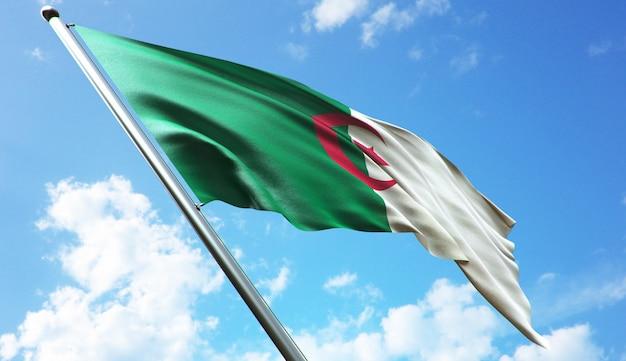 青空を背景にアルジェリアの国旗の高解像度3dレンダリングイラスト
