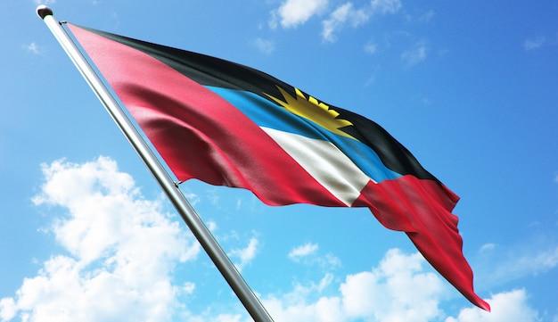 푸른 하늘 배경으로 앤티가 바부다 국기의 고해상도 3d 렌더링 그림