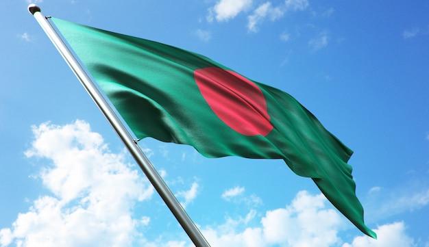 青い空を背景にバングラデシュの旗の高解像度3dレンダリングイラスト