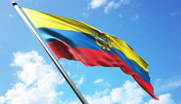 青空を背景にエクアドルの国旗の高解像度3dレンダリングイラスト