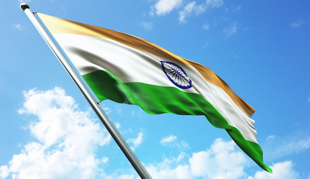 푸른 하늘 배경으로 인도 국기의 고해상도 3d 렌더링 그림
