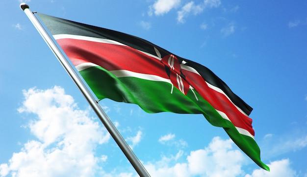 Иллюстрация 3d-рендеринга высокого разрешения флага кении на фоне голубого неба