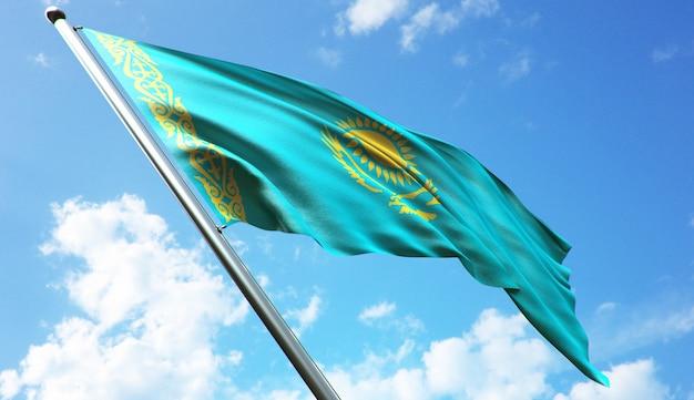 Иллюстрация 3d-рендеринга флага казахстана с высоким разрешением на фоне голубого неба