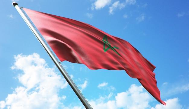 Иллюстрация флага марокко с высоким разрешением 3d-рендеринга на фоне голубого неба