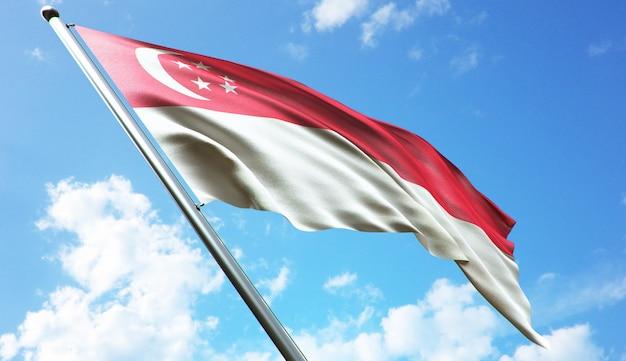 青い空を背景にシンガポール国旗の高解像度3dレンダリングイラスト