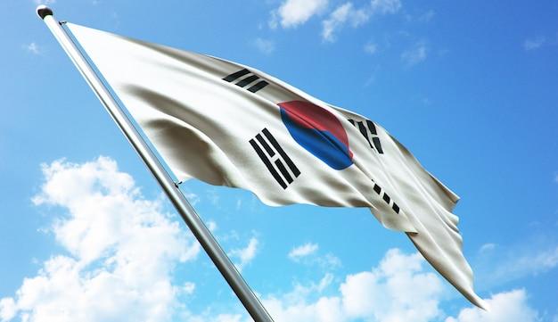 青空を背景に韓国国旗の高解像度3dレンダリングイラスト