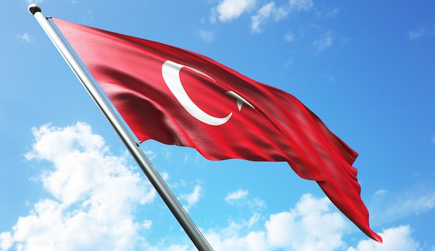 High resolution 3d rendering illustration of the turkey flag with a blue sky background